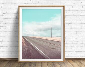 "landscape, landscape print, instant download art, printable art, photography, instant download, modern, contemporary - ""Highway Dreaming"""