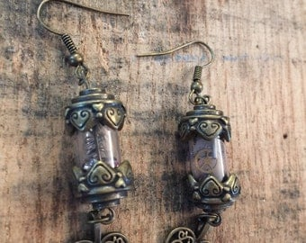 Steampunk Vial Heart Earrings