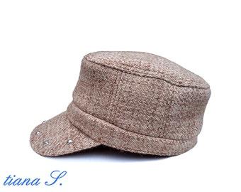 Cap / hat, wool beige melange, rivets, size M