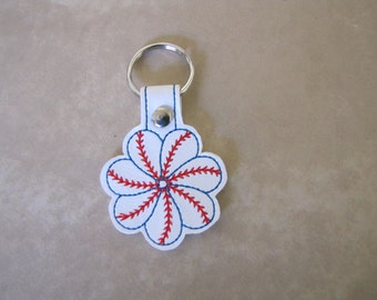 Baseball flower key fob