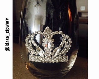Im A Queen Stemless Wine Glass