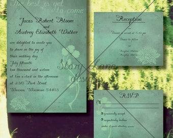 "Wedding Invitation/RSVP/Reception Card ""Poppy Green"""