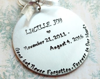 Memorial Ornament, Hand Stamped Ornament, Personalized Ornament, Custom Ornament, Christmas Ornament, Holiday Ornament, Tree Decoration