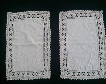 Set of 2 Needlework Doilies with Crochet Lace Edging. Rectangular Embroidered Doilies. Ivory Colour.  RBT0188