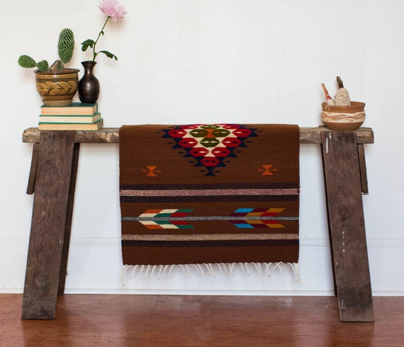 Handwoven Oaxacan Mexican Rug/ Boho Home Design By