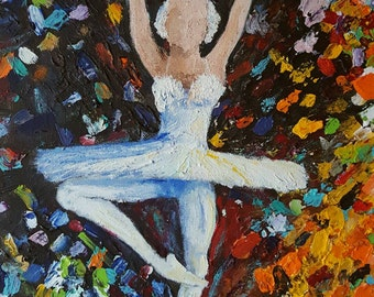 Impressionist ballerina in swan lake costume, dancing in pointe shoes with color bursts, on a 16x20 canvas