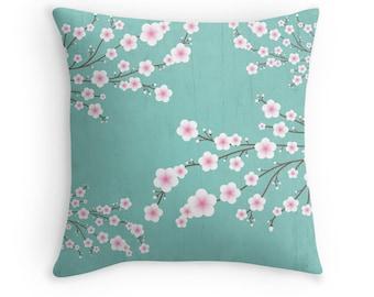 Cherry Blossom Pillow Covers, Sakura Cushion Covers, Turquoise Pillows, Japanese Pillow, Japanese Decor