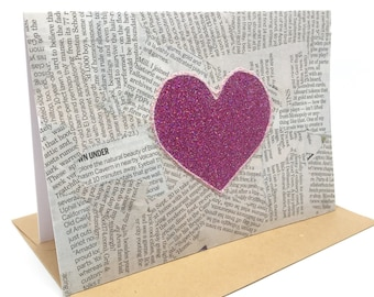 Pink Valentines Card - Anniversary Card - Pink Engagement Card - Love Card - Newspaper Heart - Note Card - Love Stationary