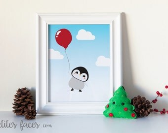 Cute Baby Penguin Floating with a Balloon in the sky print for nursery or children decor