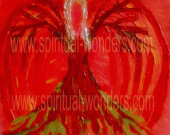 Chakra Angels with Positive Affirmations - I am... Root Chakra - Artwork: Angel of Safety by Eva Maria Hunt, Print, A6 Card