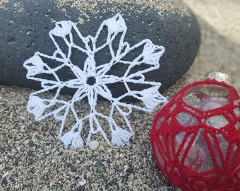 Crochet white snowflakes! Set of 5 perfect ornaments for your Christmas tree!!!