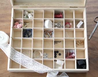 Boîte à perles 42 cases en bois rangement pour créations perles bijoux breloques boite d'artiste matériel pour création de bijoux avec perle