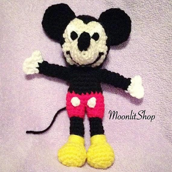 Crochet Mickey Mouse Inspired Amigurumi by MoonlitShopPatterns