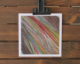 PRINT | Oak | Abstract Watercolor Painting | Tree Line Drawing | Green, Blue, Brown, Grey + Red