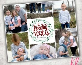Printable Photo Christmas Card - Holiday Wishes  - Digital File