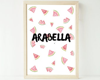 Custom watercolour watermelon personalised name artwork print up to extra large A1