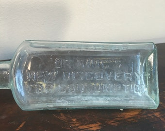 Dr. King's Glass Bottle - New Discovery for Consumption, 19th Century Clear-Blue Glass Bottle