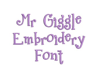 3 Size Mr. Giggle Embroidery Font Embroidery Designs, BX fonts Machine Embroidery Designs - 9 File Fomats - INSTANT DOWNLOAD