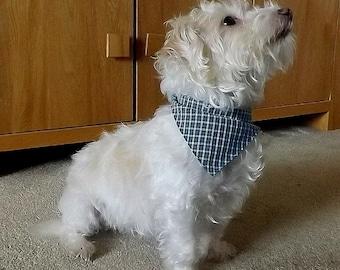 Check dog bandana, blue, green and grey, check dog neckerchief, dog accessories, dog scarf