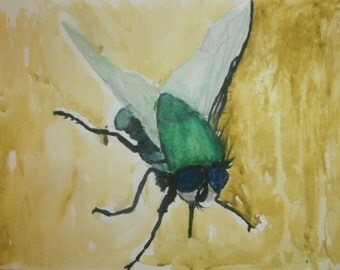 fly original watercolor painting