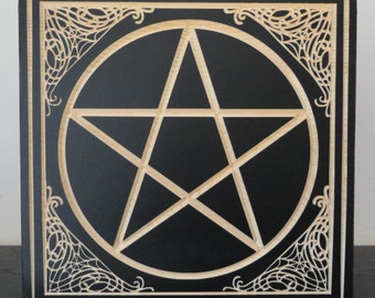 Wood Carved Pentacle | Wicca Wiccan Witchcraft Pagan Occult