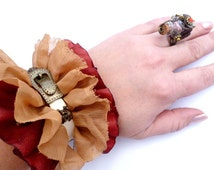 Pyrate Belt Beige Leather Srap_P054451_OCHER and Vinous Pyrate Bracelet_Gift Ideas_