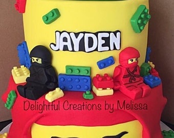 Lego fondant cake topper set