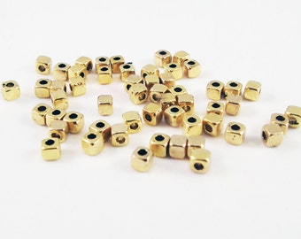 ISP63 - Lot of spacers beads square Cubes cubic Spacer gold Antique / Vintage Antiqued Gold Spacer Beads Square