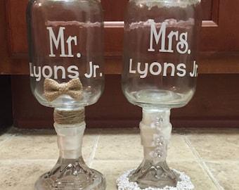 Wedding Glasses-Mr. & Mrs. Mason Jars
