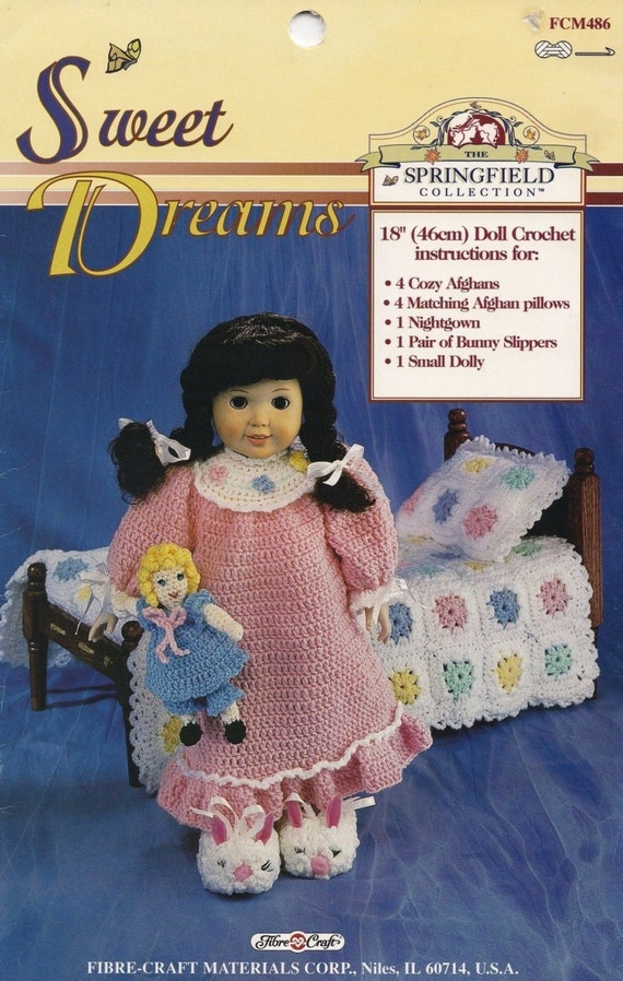 Sweet dreams fibre craft doll clothes afghans crochet for Fibre craft 18 inch doll