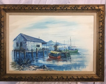 Vintage A. simpson oil painting boats on harbor. Moutains