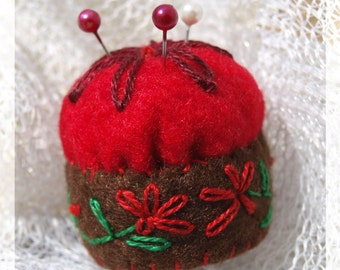 Miniature pincushion - RED - 100% wool felt mini cushion for pins , bottle cap ,  recycled , thecraftdesk