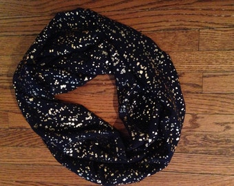 Beautiful navy and gold infinity scarf