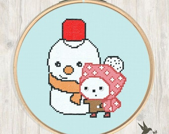 Stitch Snowman with Friend Christmas Cute Cross Stitch Pattern Needlecraft