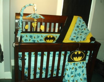 Batman Custom Made 10 pc (or made bumperless or in pink) nursery baby crib bedding set made with Batman fabric NEW