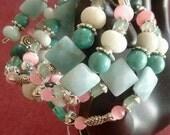 Clearance, Green bracelet/ Aventurine, Amazonite, and Magnesite bracelet/ beaded bracelet/ gifts for her/ gemstone bracelet