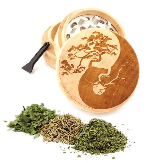 Yin Yang Engraved Premium Natural Wooden Grinder Item # PW050916-130