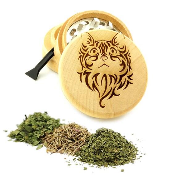 Tattoo Design Engraved Premium Natural Wooden Grinder Item # PW61716-40
