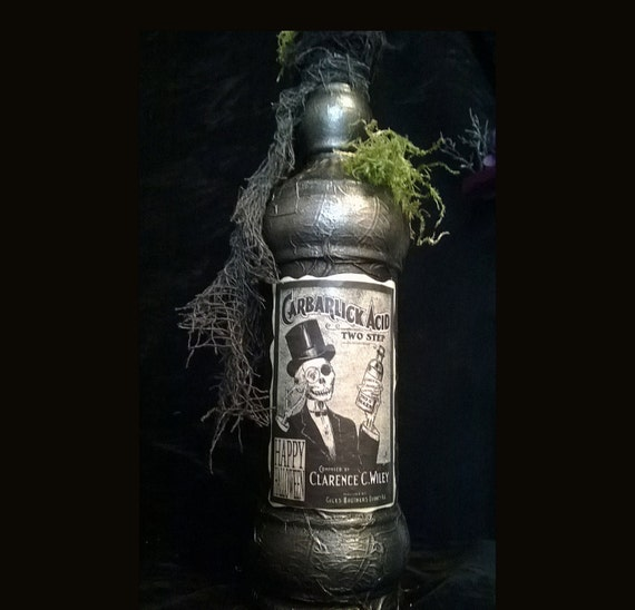 Potion Bottle Halloween CARBARLIC ACID GHOULADE Bottle 2 sided Large Repurposed Glass Bottle Black Silver Accent Pirate Or Poison Bottle