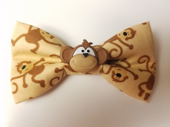 Monkey Bow for Cat or Small Dog Collars, Matching Velcro Collar, 100% Sales Goes to Feeding Feral Cats