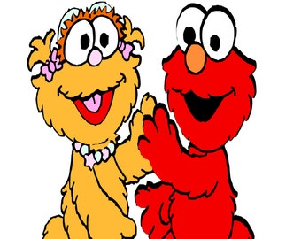 Sesame Street Zoe and Elmo SVG Instant Download!!!!