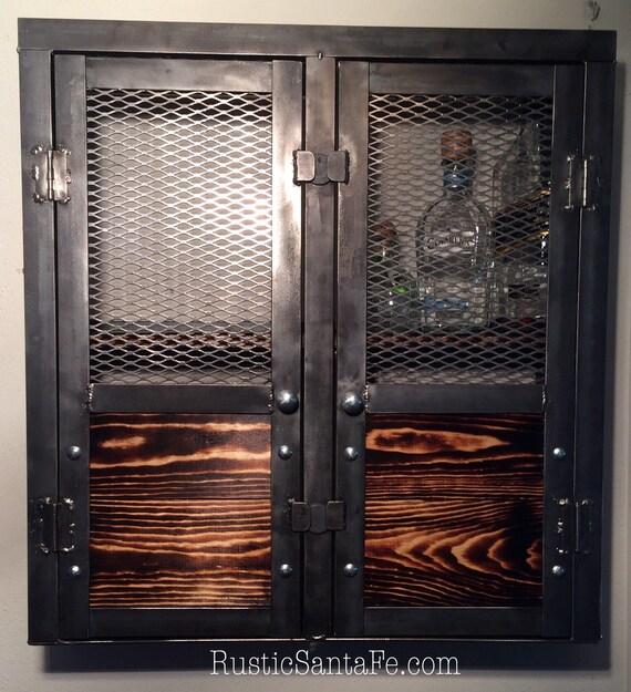 liquor cabinet wine rack rustic cabinet by rusticsantafe on etsy. Black Bedroom Furniture Sets. Home Design Ideas