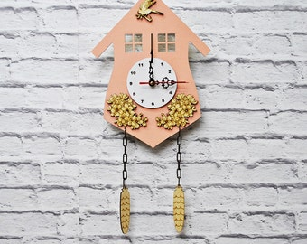 "Wooden Cuckoo Clock Wall Clock ""Cottage"""