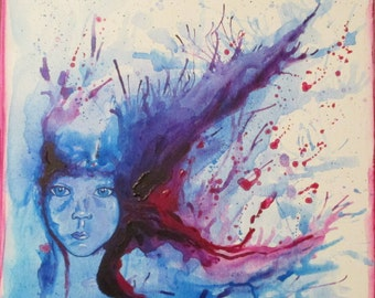 Acrylic Painting, Girl Face, Wild Colors