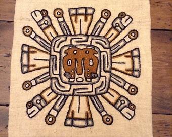 Rare Wool Pillow Cover Mayan God Kukulkon (A194)