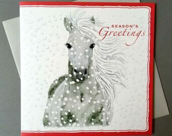 Gorgeous SNOWY GREY Horse CHRISTMAS Greeting Card - XR15