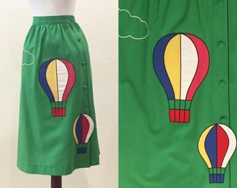 Kelly Green Hot Air Balloon Skirt | 1980s | size Small |