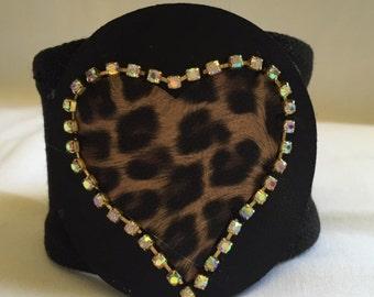 Heart Cheetah wrist cuff bracelet