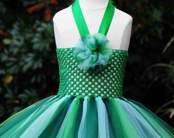READY To SHIP !!! Vibrant shades of Green Tutu Dress