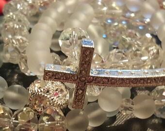 Clear Matte, beaded bracelets